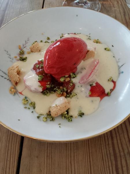 Jordbær og rabarberdessert med hvid chokolade, creme anglaise og jordbærsorbet