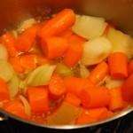 Gulerødder og løg pludrer i bouillon og æblejuice